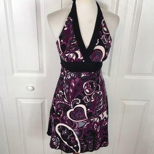 Heart & Soul Halter Dress Purple Black Print